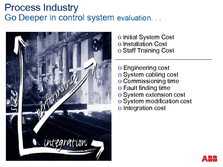 Process Industry Go Deeper in control system evaluation. . . o Initial System Cost