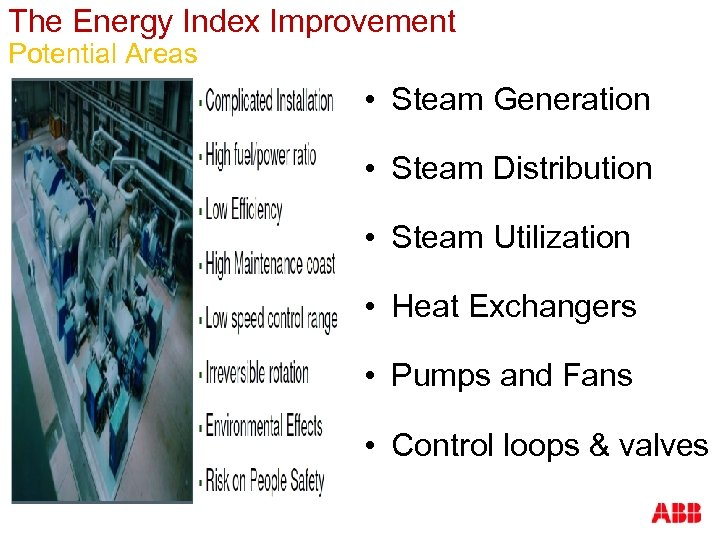 The Energy Index Improvement Potential Areas • Steam Generation • Steam Distribution • Steam