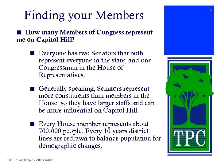 Finding your Members ■ How many Members of Congress represent me on Capitol Hill?