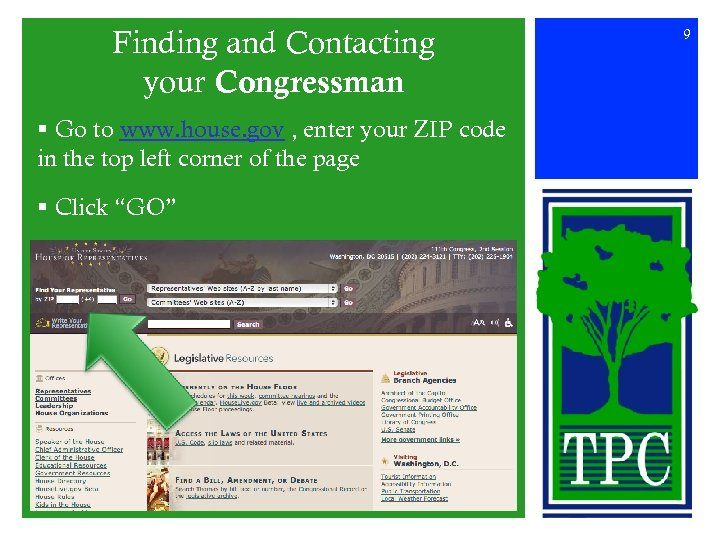 Finding and Contacting your Congressman § Go to www. house. gov , enter your