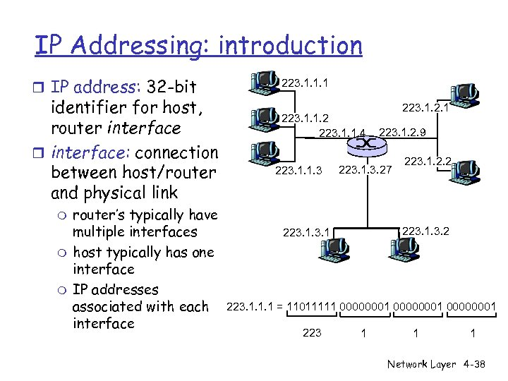IP Addressing: introduction r IP address: 32 -bit identifier for host, router interface: connection