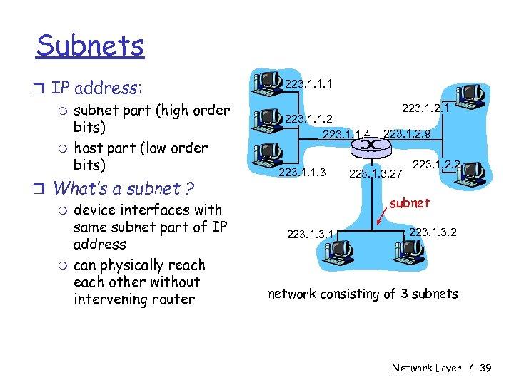 Subnets r IP address: m subnet part (high order bits) m host part (low