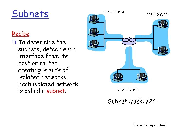 Subnets Recipe r To determine the subnets, detach each interface from its host or