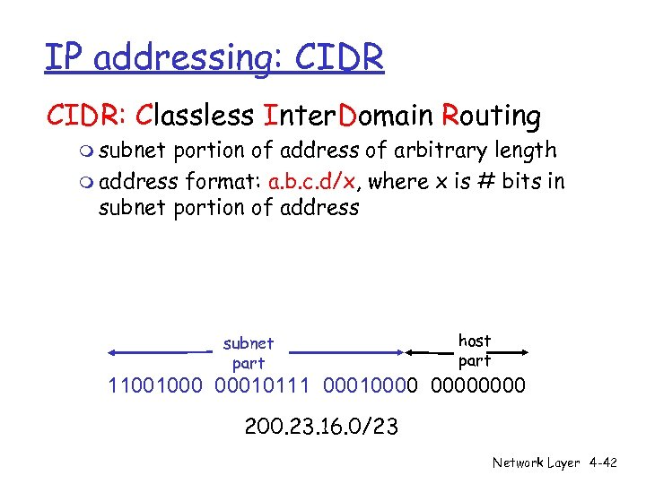 IP addressing: CIDR: Classless Inter. Domain Routing m subnet portion of address of arbitrary