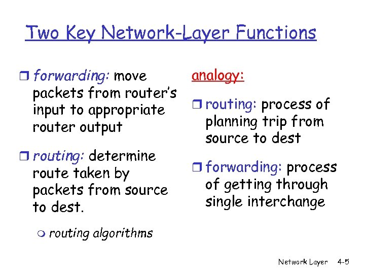 Two Key Network-Layer Functions r forwarding: move packets from router's input to appropriate router