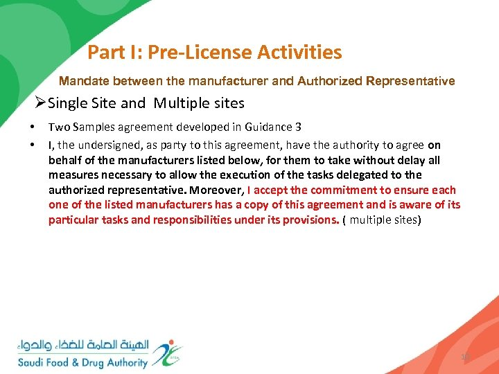 Part I: Pre-License Activities Mandate between the manufacturer and Authorized Representative ØSingle Site and