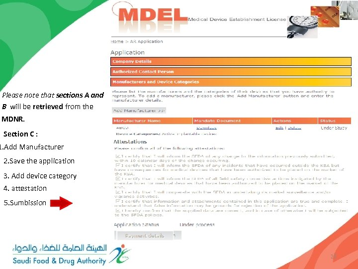 Please note that sections A and B will be retrieved from the MDNR. Section
