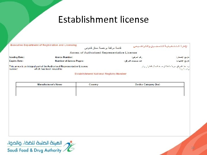 Establishment license Only an authorised representative holding a valid establishment license, issued by the