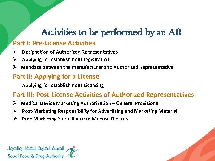 Activities to be performed by an AR Part I: Pre-License Activities Ø Designation of