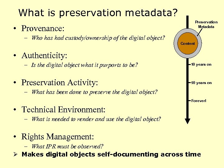 What is preservation metadata? Preservation Metadata • Provenance: – Who has had custody/ownership of