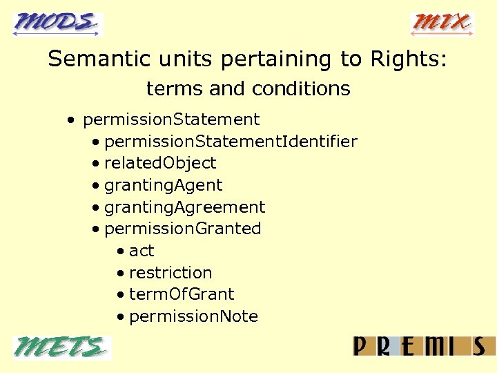 Semantic units pertaining to Rights: terms and conditions · permission. Statement. Identifier · related.