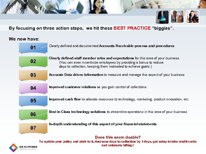 "By focusing on three action steps, we hit these BEST PRACTICE ""biggies"". We now"