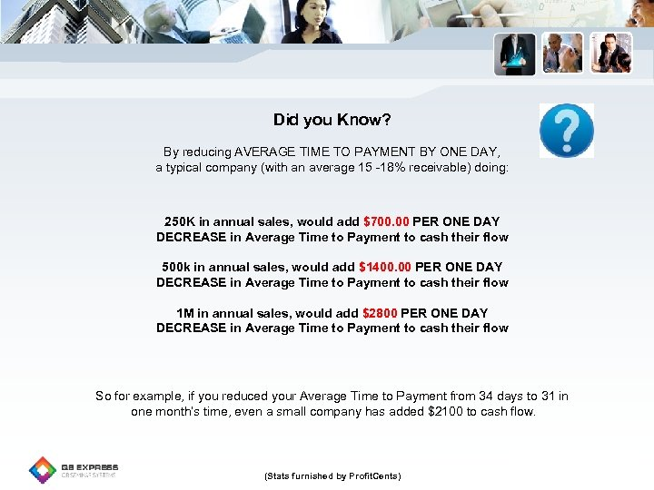 Did you Know? By reducing AVERAGE TIME TO PAYMENT BY ONE DAY, a typical