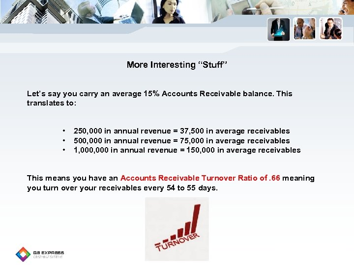 "More Interesting ""Stuff"" Let's say you carry an average 15% Accounts Receivable balance. This"