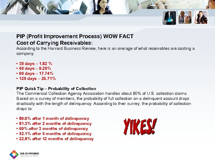 PIP (Profit Improvement Process) WOW FACT Cost of Carrying Receivables: According to the Harvard