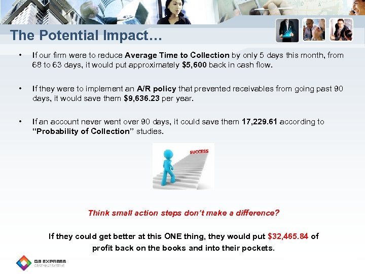 The Potential Impact… • If our firm were to reduce Average Time to Collection