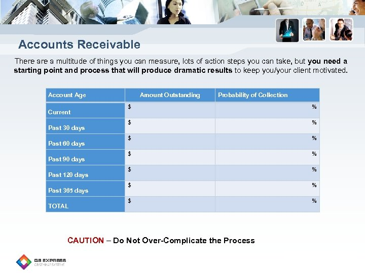 Accounts Receivable There a multitude of things you can measure, lots of action steps