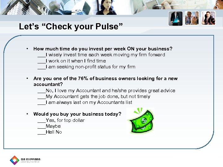 "Let's ""Check your Pulse"" • How much time do you invest per week ON"