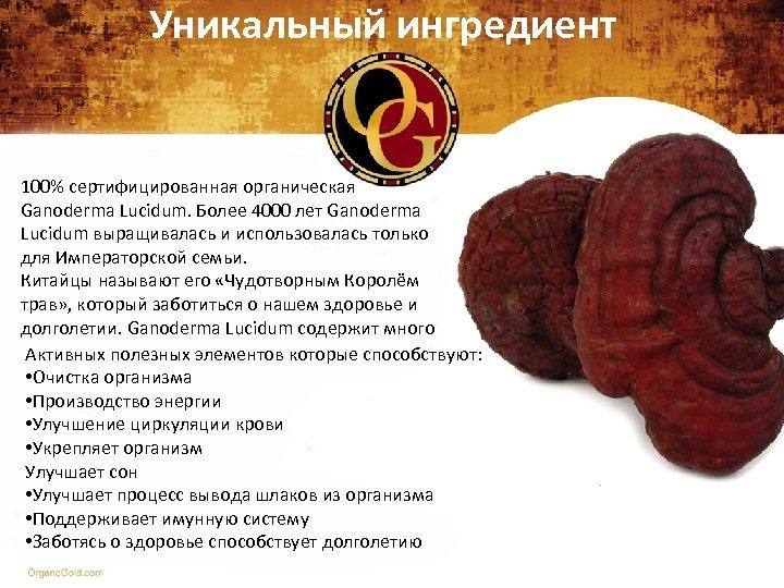 Уникальный ингредиент 100% сертифицированная органическая Ganoderma Lucidum. Более 4000 лет Ganoderma Lucidum выращивалась и