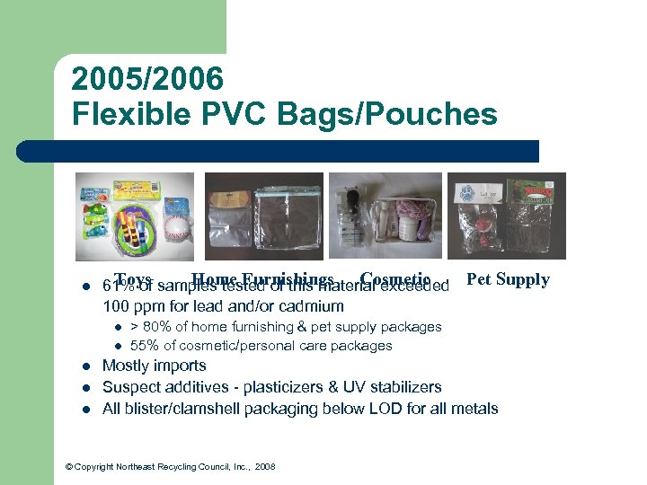 2005/2006 Flexible PVC Bags/Pouches l Toys Home Furnishings Cosmetic 61% of samples tested of