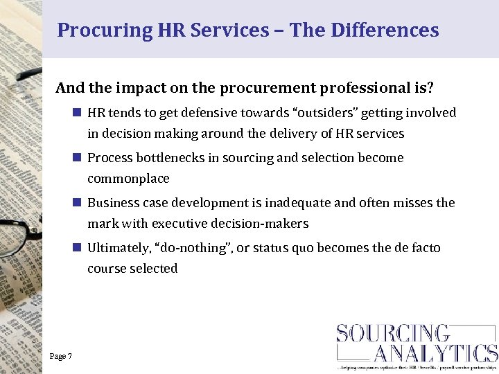 Procuring HR Services – The Differences And the impact on the procurement professional is?