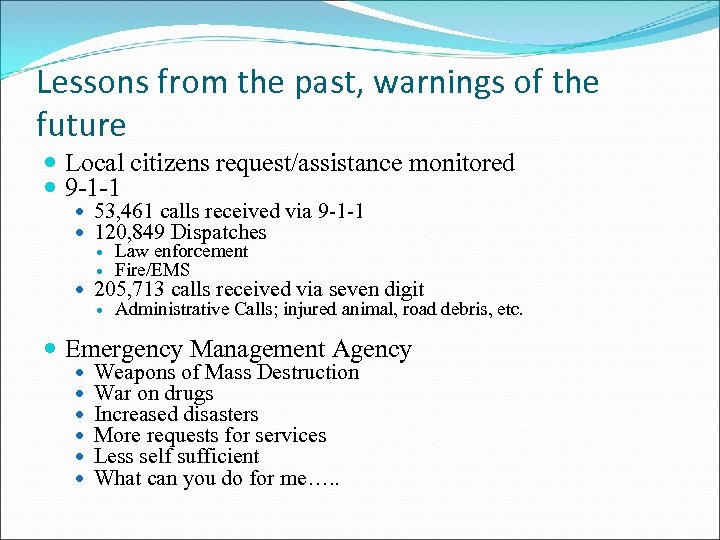 Lessons from the past, warnings of the future Local citizens request/assistance monitored 9 -1
