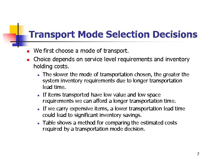 Transport Mode Selection Decisions n n We first choose a mode of transport. Choice
