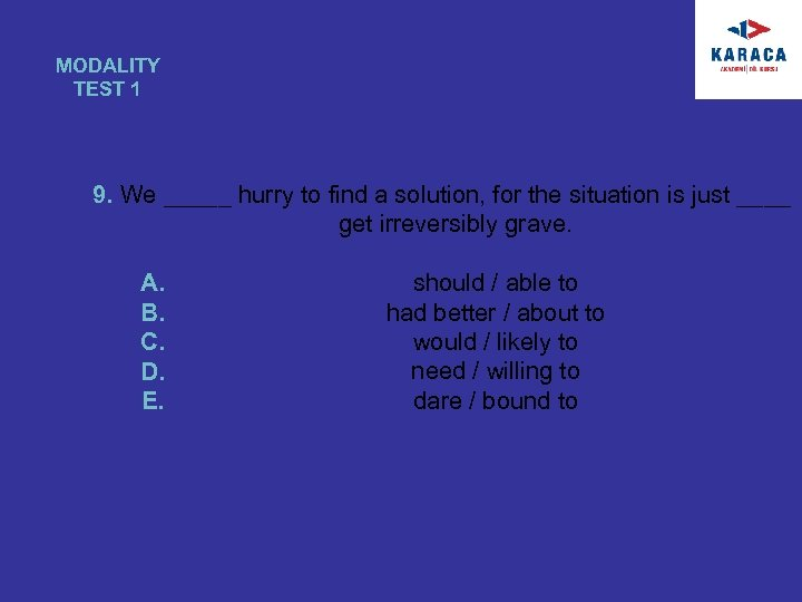 MODALITY TEST 1 9. We _____ hurry to find a solution, for the situation