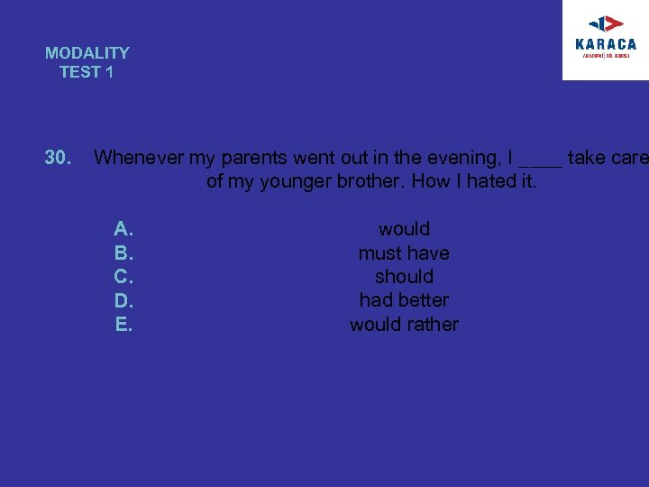 MODALITY TEST 1 30. Whenever my parents went out in the evening, I ____
