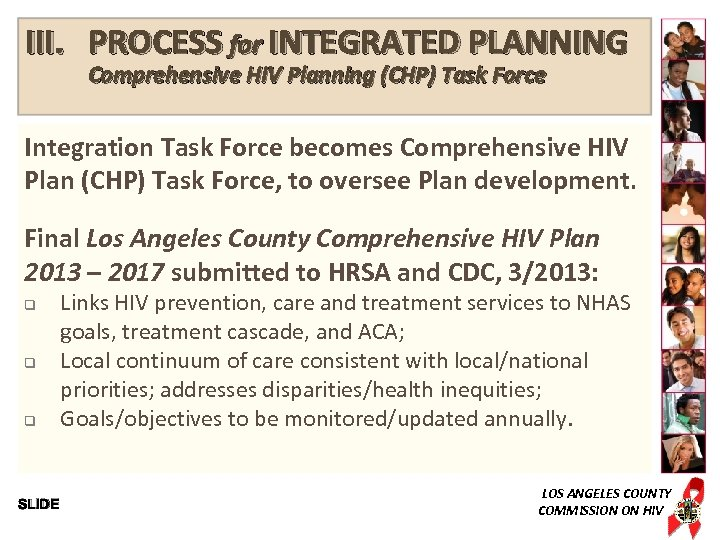 III. PROCESS for INTEGRATED PLANNING Comprehensive HIV Planning (CHP) Task Force Integration Task Force