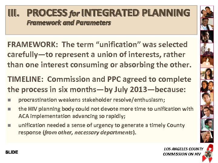 """III. PROCESS for INTEGRATED PLANNING Framework and Parameters FRAMEWORK: The term """"unification"""" was selected"""
