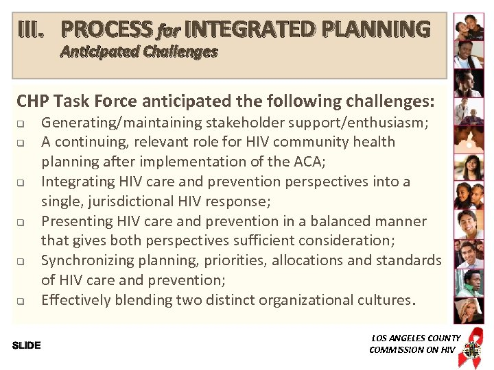 III. PROCESS for INTEGRATED PLANNING Anticipated Challenges CHP Task Force anticipated the following challenges: