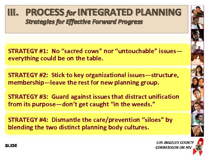 """III. PROCESS for INTEGRATED PLANNING Strategies for Effective Forward Progress STRATEGY #1: No """"sacred"""