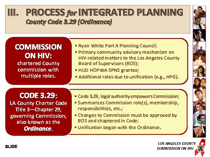 III. PROCESS for INTEGRATED PLANNING County Code 3. 29 (Ordinance) COMMISSION ON HIV: •