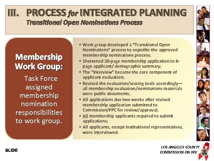 III. PROCESS for INTEGRATED PLANNING Transitional Open Nominations Process Membership Work Group: Task Force
