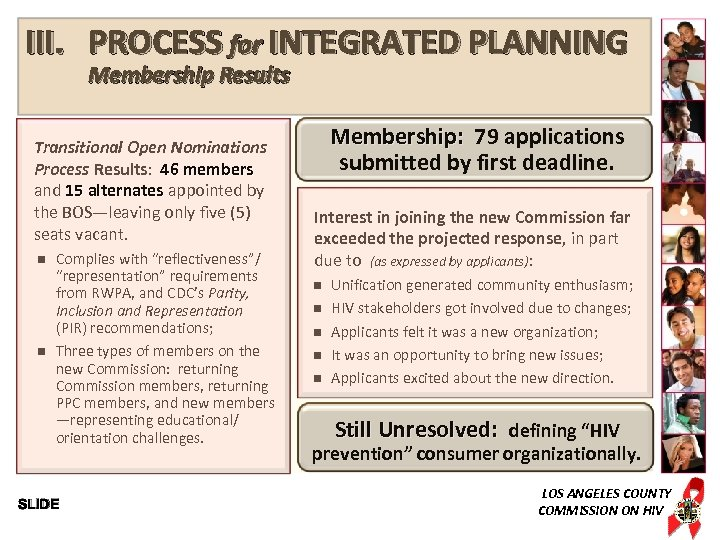 III. PROCESS for INTEGRATED PLANNING Membership Results Transitional Open Nominations Process Results: 46 members