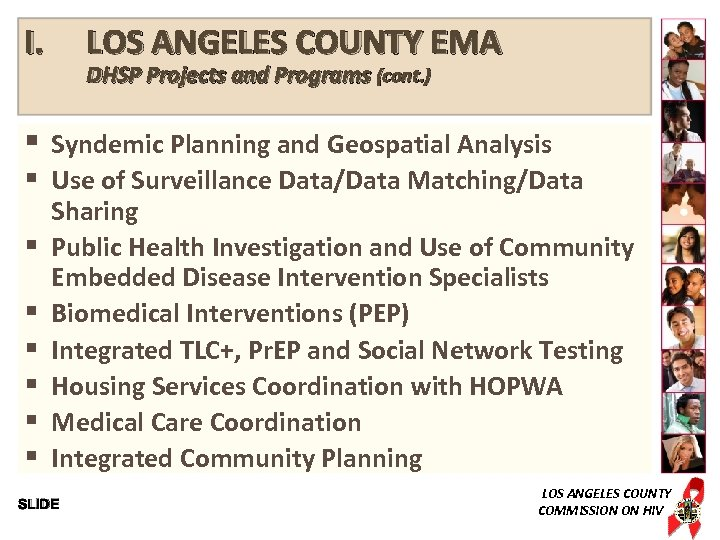 I. § § § § LOS ANGELES COUNTY EMA DHSP Projects and Programs (cont.