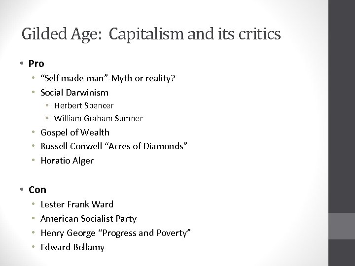 """Gilded Age: Capitalism and its critics • Pro • """"Self made man""""-Myth or reality?"""