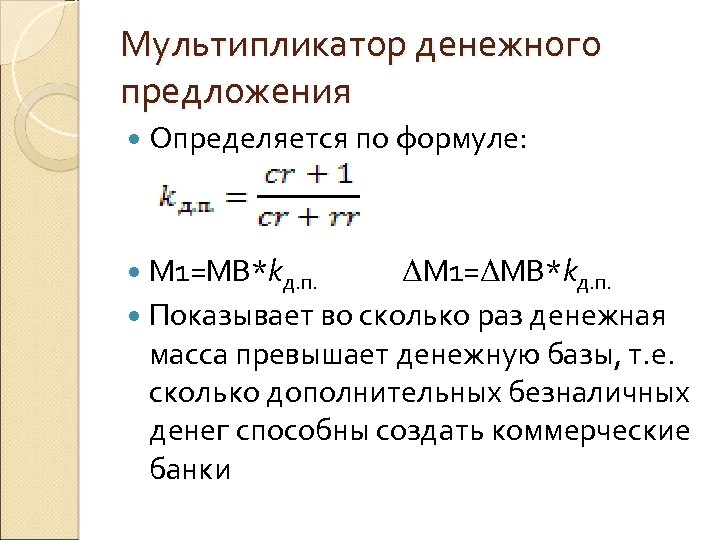 Мультипликатор денежного предложения Определяется по формуле: M 1=MB*kд. п. ΔM 1=ΔMB*kд. п. Показывает во