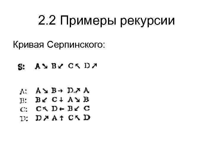2. 2 Примеры рекурсии Кривая Серпинского: