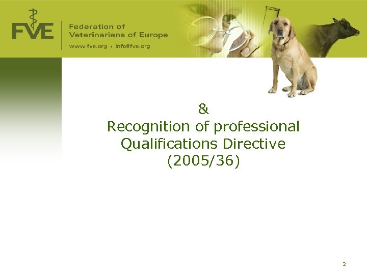& Recognition of professional Qualifications Directive (2005/36) 2