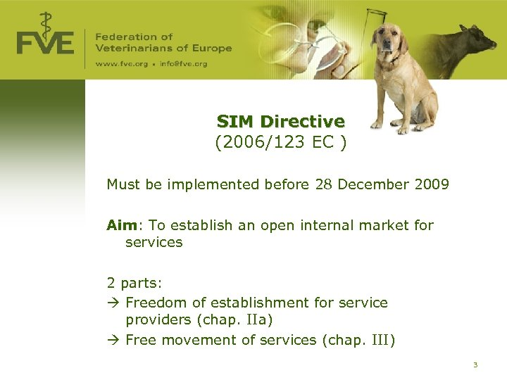 SIM Directive (2006/123 EC ) Must be implemented before 28 December 2009 Aim: To