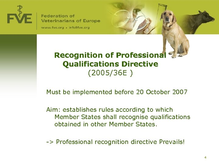 Recognition of Professional Qualifications Directive (2005/36 E ) Must be implemented before 20 October