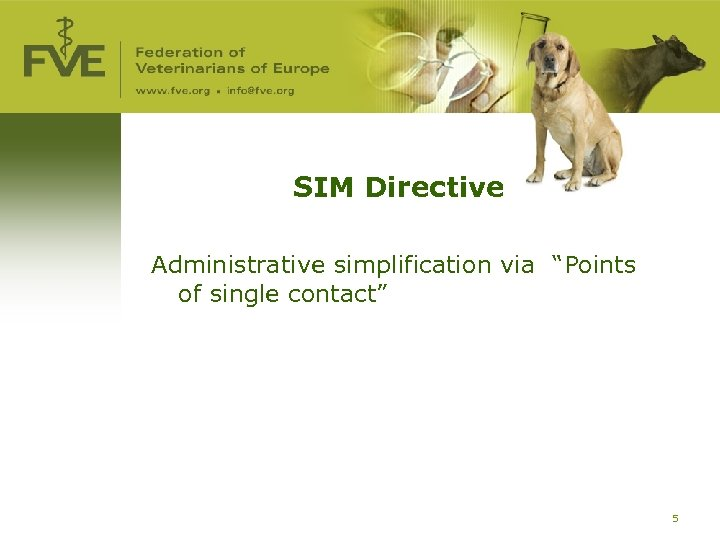 "SIM Directive Administrative simplification via ""Points of single contact"" 5"