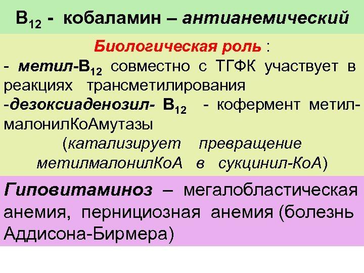 В 12 - кобаламин – антианемический Биологическая роль : - метил-В 12 совместно с