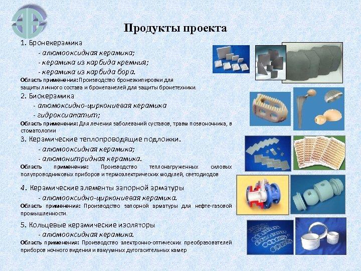 Продукты проекта 1. Бронекерамика - алюмооксидная керамика; - керамика из карбида кремния; - керамика