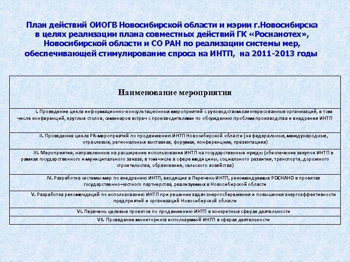 План действий ОИОГВ Новосибирской области и мэрии г. Новосибирска в целях реализации плана совместных