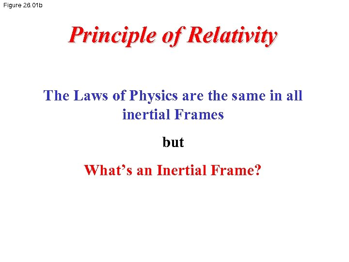 Figure 26. 01 b Principle of Relativity The Laws of Physics are the same