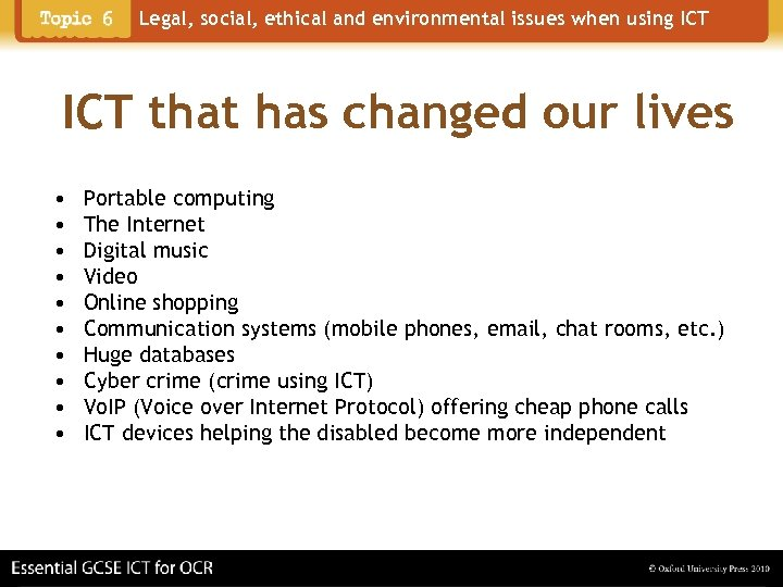 Legal, social, ethical and environmental issues when using ICT that has changed our lives