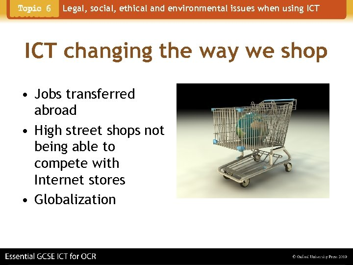 Legal, social, ethical and environmental issues when using ICT changing the way we shop